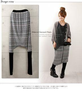 basic-style2 | Rakuten Global Market: Ethnic sarouel pants / cropped / geometry pattern / sarouel pants / skirt underwear / transformation bottoms / ゆる Bakery / leggings