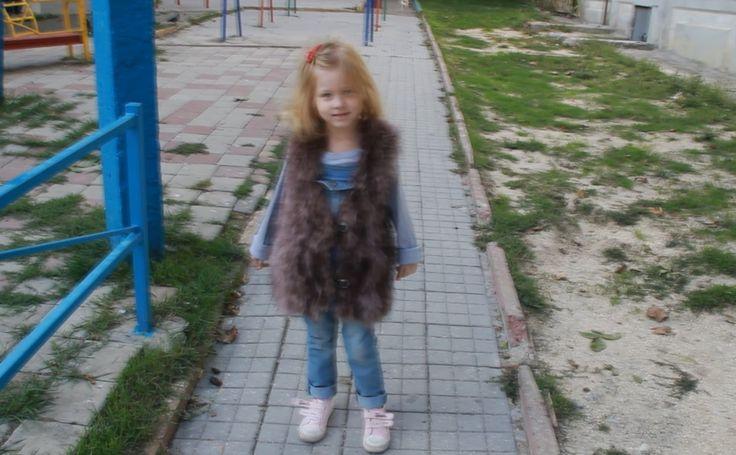 Меховой жилет Жилет детский заказать Натуральный мех Fur vest kids order...