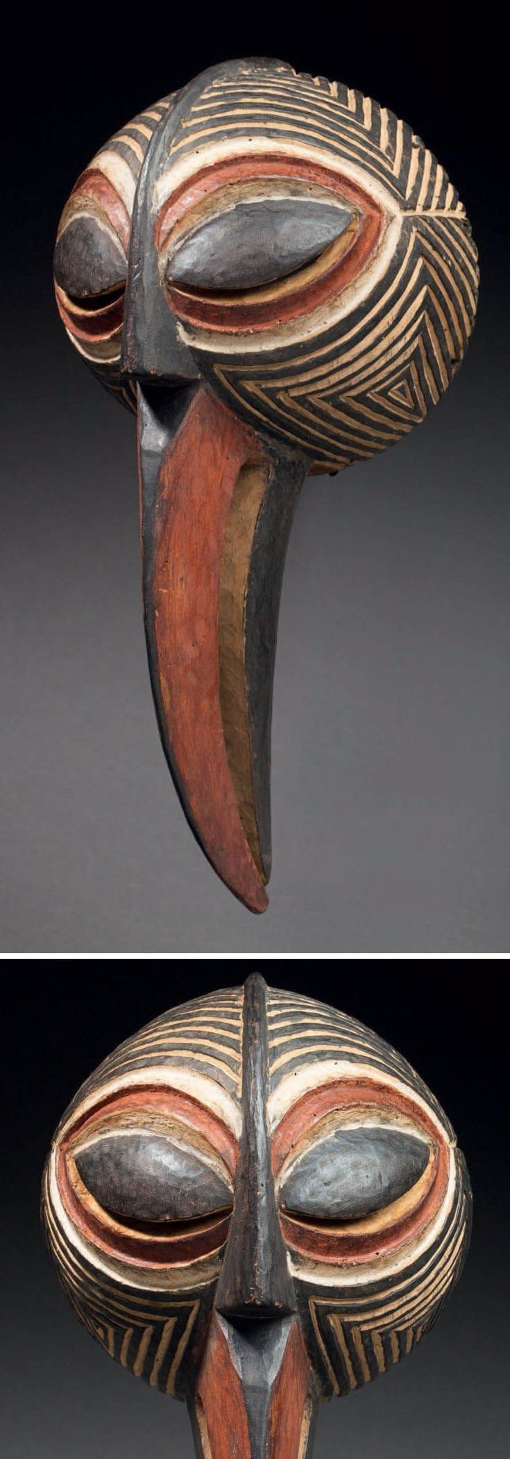 Africa | Mask from the Luba Songye people of DR Congo | Wood and pigment                                                                                                                                                                                 Plus