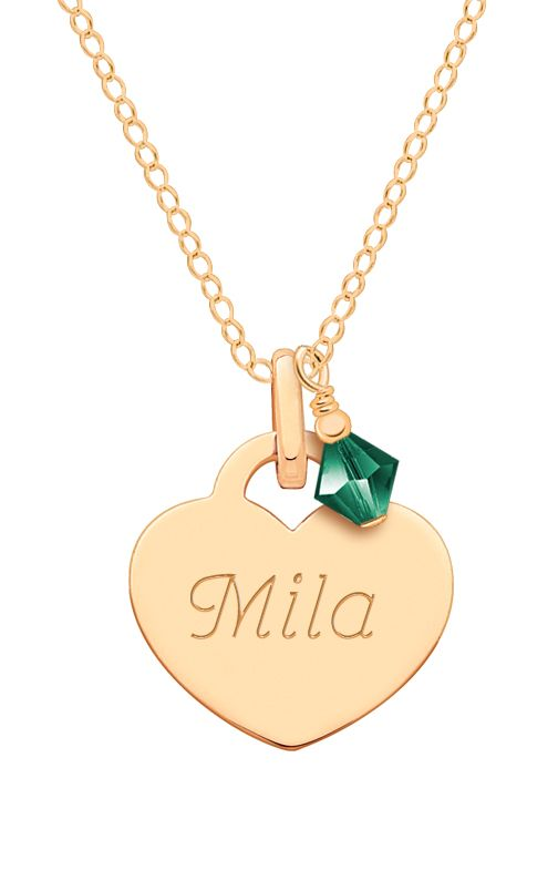 Solid (NOT plated) 100% 14K Gold Heart Charm Necklace with Birthstone. Adorable keepsake gift she will have in her jewelry box forever. Engrave her name, initial, or monogram.