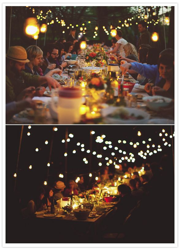 Absolutely gorgeous lighting for an outdoor dinner. They've set up poles around the long table and hung the lights above everyone's heads - so effective!