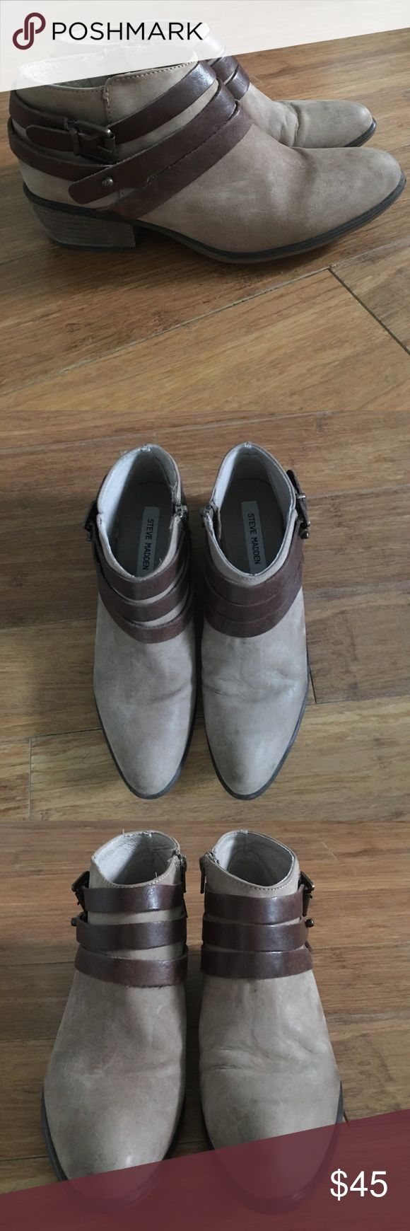 Steve Madden Tan Suede Booties with Buckles-Size 8 Steve Madden Tan Suede Booties with Buckles. Great used condition. A great fall staple! Steve Madden Shoes Ankle Boots & Booties