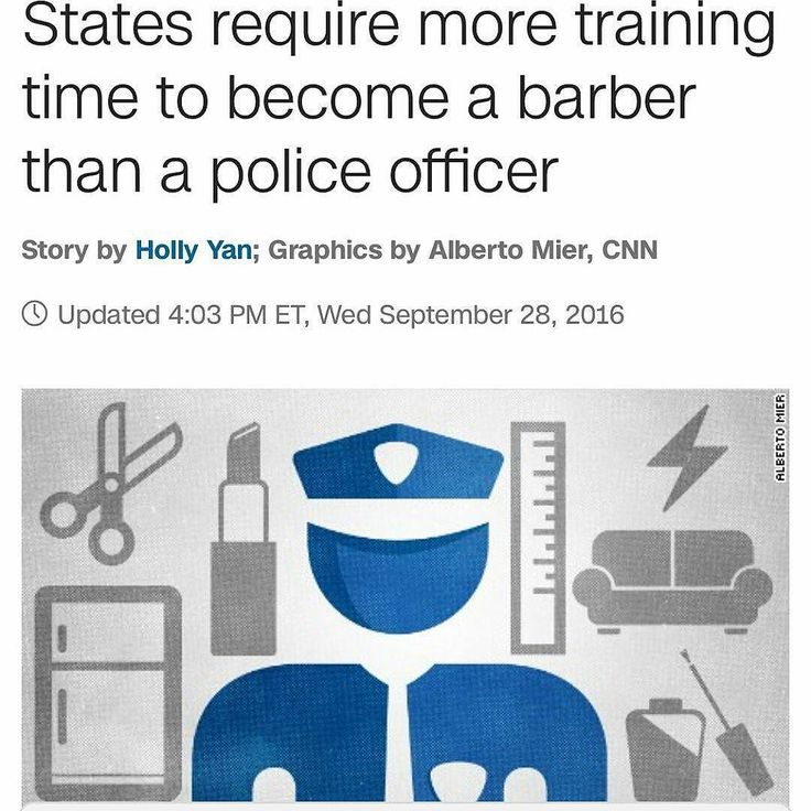 @Regrann from @crackedrosecoloredglasses_us -  Swipe left to see examples. (CNN)While covering the recent protests in Charlotte we met Derrick Jacobs who said he had to go through more training to become a barber than a police officer does. We wanted to see if that was true. Because every time there's a controversial police shooting the question comes up: How much training do officers get?  Turns out Jacobs' claim is right. And it's not just in North Carolina. In California New Mexico and…
