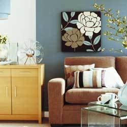 love this color combo!: Tan Couches, Wall Colors, Colors Combos, Bathroom Colors, Grey Colors, Blue Walls, Couch Blu Wall, Tans Couch Blu, Colors Combinations