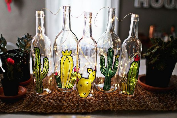 DIY Your Garden On Stained Glass Bottle