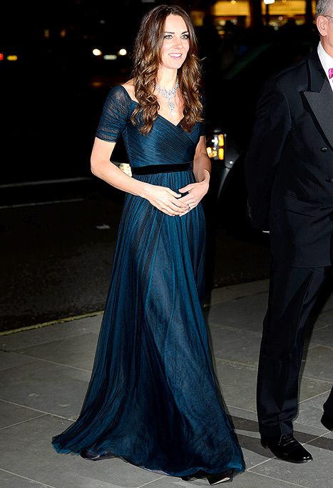Kate Middleton looks regal in a midnight blue gown by Jenny Packham at the Portrait Gala in London on Feb. 11