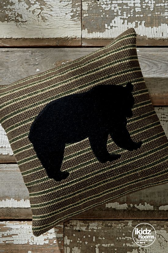 """Take your love of the outdoors inside with a simple and rustic-inspired pillow! It's a """"bear"""" necessity! iKidz Rooms® - Kids, Teen and Youth Bedroom Ideas - Accessories - Pillows - #iKidzRooms #KidsBedrooms"""
