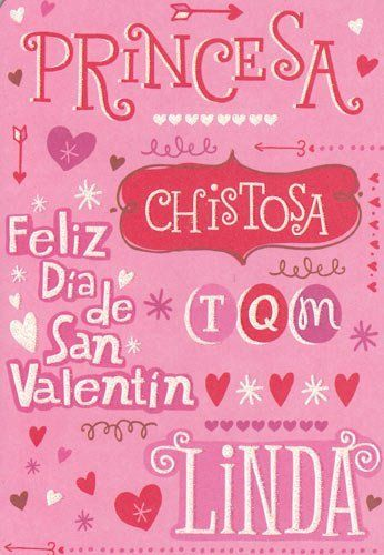 """One Card Greeting Card Valentine's Day Spanish """"Princess Happy Valentine's Day Funny Pretty I Love You"""" Translation on Back by Greeting Cards - Valentine's Day. $2.25. Only One Single Card. Greeting Card. Valentine's Day. Greeting Card Valentine's Day Spanish """"Princess Happy Valentine's Day Funny Pretty I Love You"""" Translation on Back. sweet just like sugar and very fun, too that's right."""