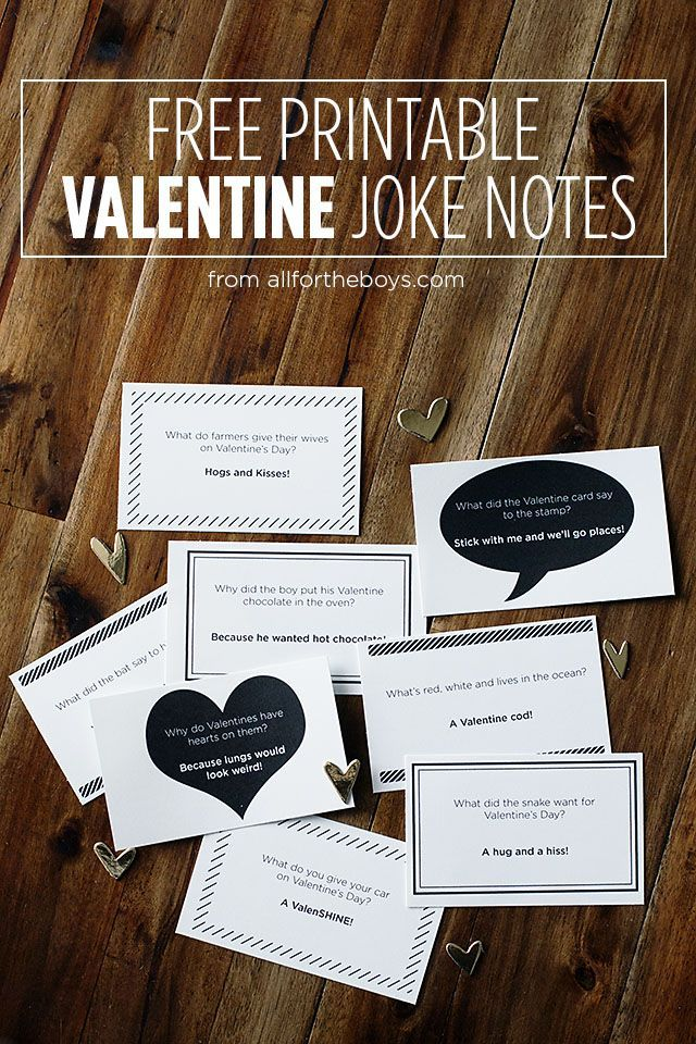 Free printable Valentine joke notes - perfect for lunches or to trade in class
