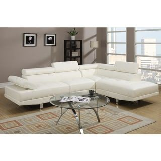 Shop for Pomorie White Faux Leather Sectional Sofa Set. Get free delivery at Overstock.com - Your Online Furniture Shop! Get 5% in rewards with Club O! - 16418500
