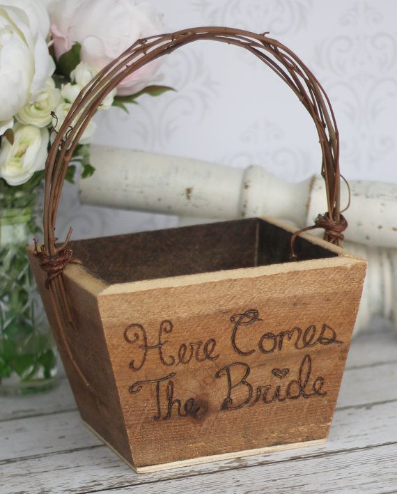 Flower Girl Basket Here Comes The Bride Sign by braggingbags, Etsy.com