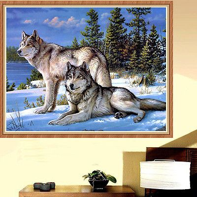 5D DIY Mosaic Diamond Painting Embroidery Wolves Cross Stitch Kits Craft Decor