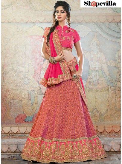 Pink Colour Jacquard Silk Lehenga Choli-6908