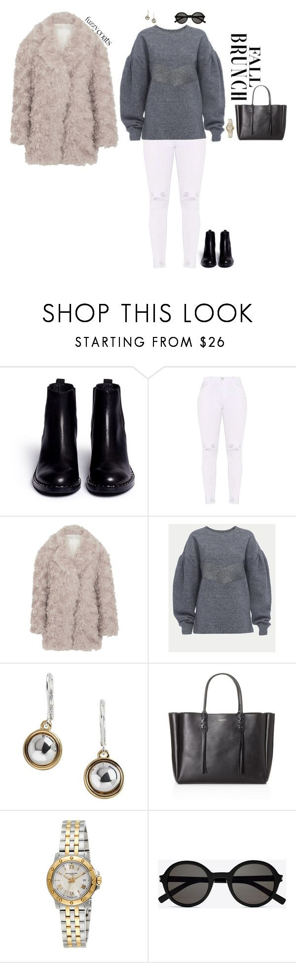 """Fuzzy Coats: Brunch"" by jenily ❤ liked on Polyvore featuring Ash, Maison Margiela, Frame, Lauren Ralph Lauren, Lanvin, Raymond Weil and Yves Saint Laurent"