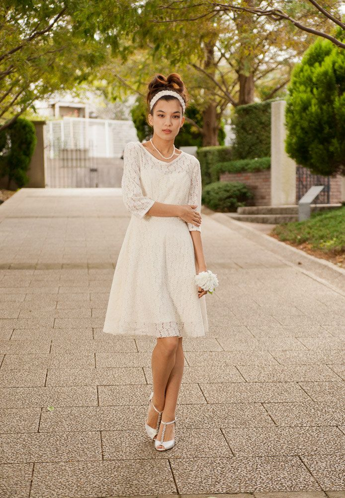 Cotton Lace Casual Dress - M, or Made to Order - Long Sleeves, Knee Length, Swing Skirt. $250.00, via Etsy.