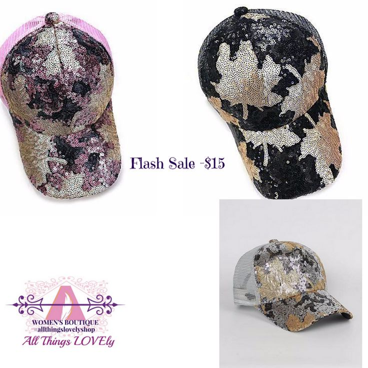 """FLASH SALE & TAG YOUR FRIEND THURSDAY GIVEAWAY! TODAY UNTIL MIDNIGHT-  THESE ADORABLE SEQUIN HATS ARE AVAILABLE FOR $15! I ONLY HAVE 1- BLACK, 1-GRAY AND 1-PINK LEFT. ORIGINALLY $28. COMMENT SOLD AND EMAIL ADDRESS (IF FIRST TIME BUYER) AND I WILL SEND INVOICE-  ***WANT ONE FOR FREE?! TAG 3 FRIENDS THAT YOU THINK WOULD LIKE HATS OR MY SHOP AND COMMENT """"DONE"""" AFTER YOU TAG THEM. I WILL DRAW THE WINNING TAG TOMORROW!  https://allthingslovelyshop.com/products/sequin-baseball-cap"""