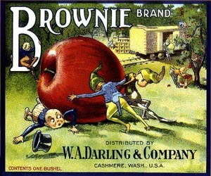 Brownie Apple Fruit Crate Box Label