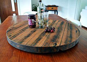 670mm Rustic hardwood lazy susan