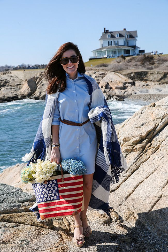 New England Style | Blue shirtdress | Navy and creme buffalo plaid blanket | Rhode Island coast | Classy Girls Wear Pearls | Sarah Vickers adventures in New England living, classic fashion, and travel