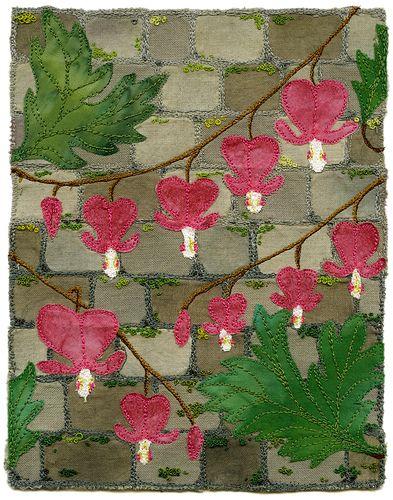 Bleeding Hearts and Stone Wall: Photos, Kirsten Chursinoff, Sewing, Wall Quilt, Stone Walls, Heart Quilt, Bleeding Hearts, Stones, Embroidery