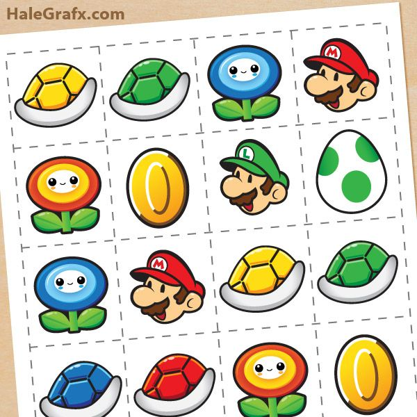 FREE Printable Super Mario Bros. Memory Game. Cute party favor!