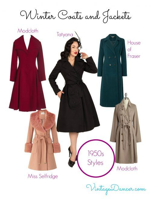 For a formal 1950s look, choose from this selection of vintage winter coats.