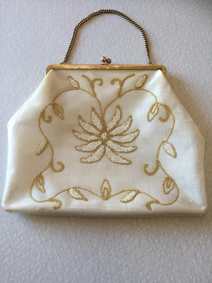 1960s/embroidered/purse/plastic/encased by WifinpoofVintage on Etsy