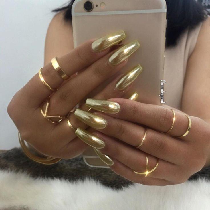 Gold chrome nails. Coffin shape.
