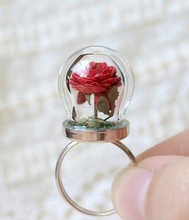WoodlandBelleTiny Terrarium Red Rose Blossom Ring