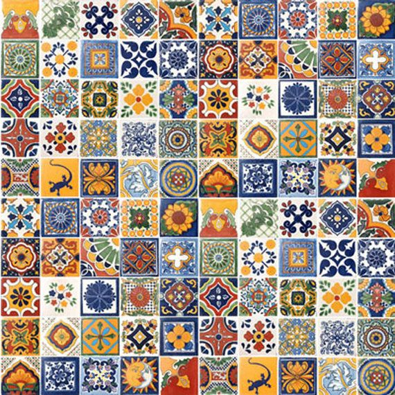 """On Sale-Mexican Talavera Tile 100 2"""" x 2"""" pieces for your craft or construction project on Etsy, $95.00"""