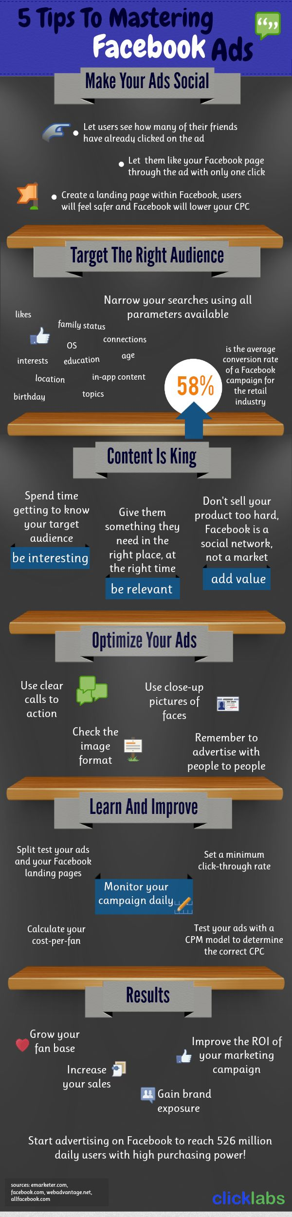 5 Tips To Mastering Facebook Ads [INFOGRAPHIC] #Facebook #ads