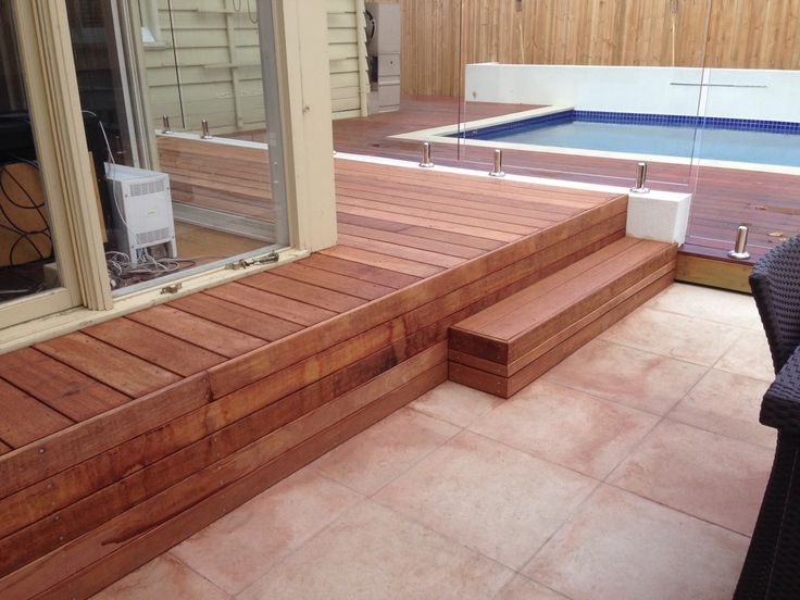 Small deck and step with removable tops for storage