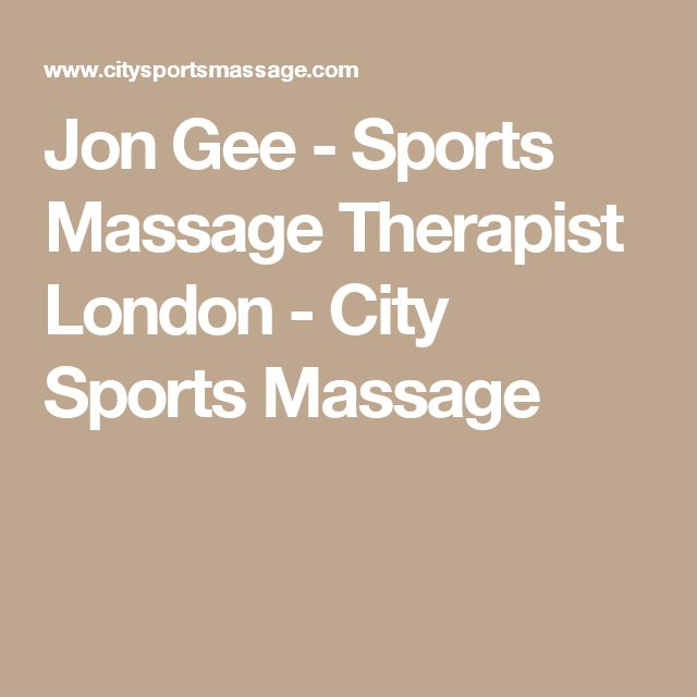 Jon Gee - Sports Massage Therapist London - City Sports Massage