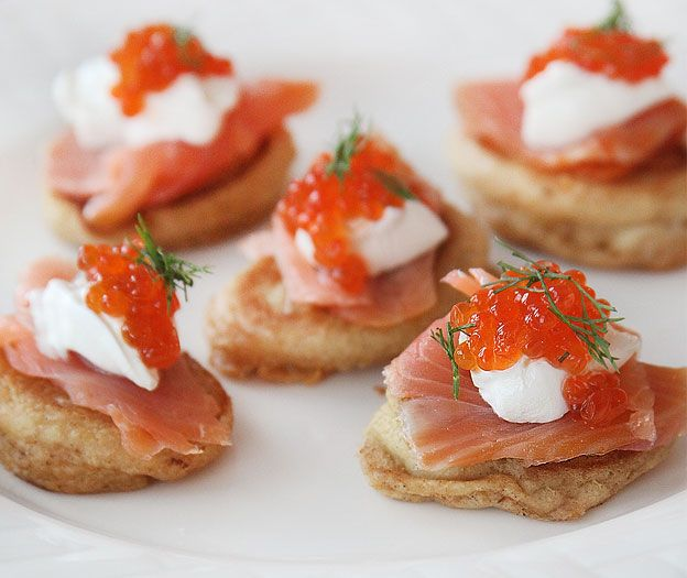 Russian blini with salmon, sour cream, and red caviar...YUM!