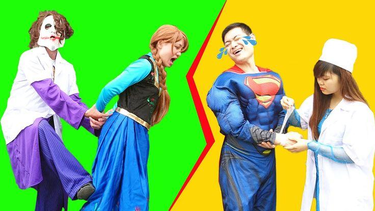 Frozen Elsa is Doctor Batman toothache Joker fake Doctor Anna Spiderman ...