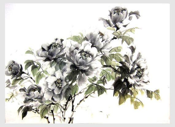 Ink Painting Japanese painrting Ink art  Asian art  Sumi-e Suibokuga Rice Paper painting  Asian wall art Large 17x23 inch Black Peonies
