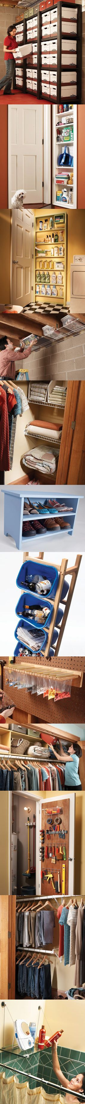 Learn 12 new solutions for storage space problems—everything from hidden shelves to shoe racks to recycling towers and more. ♥