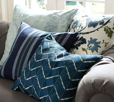 ON LARGE CHAIR IN LIVING ROOM /  Phulkari Embroidered Chevron Pillow Cover #potterybarn