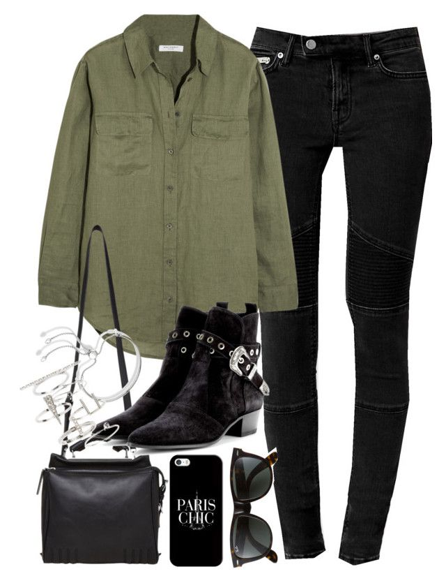 """Outfit with a khaki shirt"" by ferned on Polyvore featuring AllSaints, Equipment, 3.1 Phillip Lim, Yves Saint Laurent, Monica Vinader, Topshop, Casetify and Ray-Ban"
