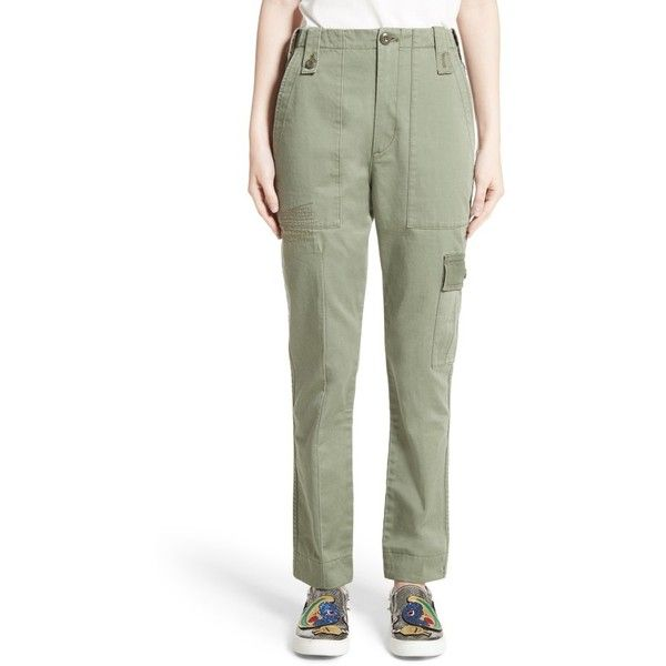 Women's Marc Jacobs Cotton Sateen Cargo Pants ($475) ❤ liked on Polyvore featuring pants, military green, olive cargo pants, military green pants, cargo pocket pants, military green cargo pants and army green cargo pants