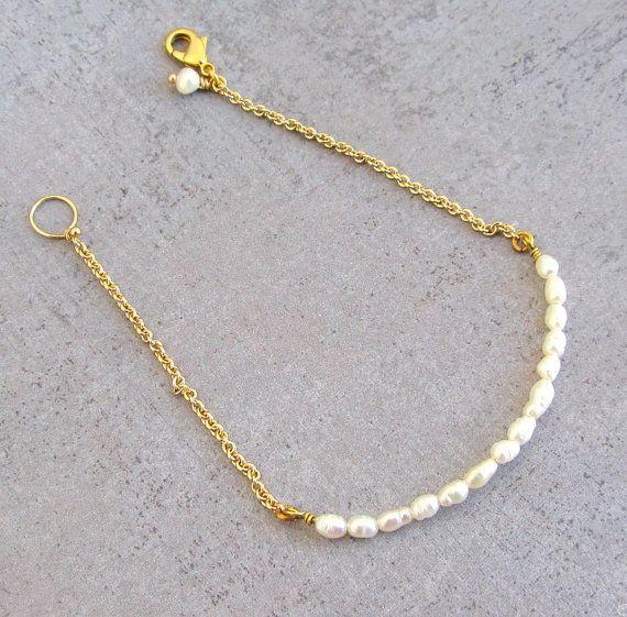 Delicato braccialetto di perle oro pieno braccialetto di lunahoo