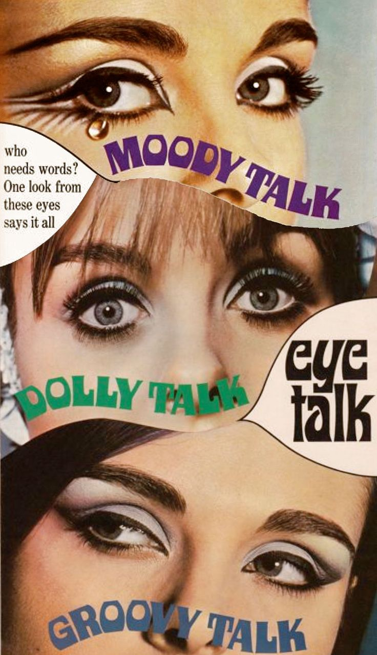 "A collage of Max Factor ""Eye Talk"" adverts showing 1960s eye makeup"