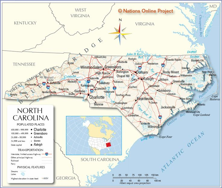 Reference Map of North Carolina, USA - Nations Online Project