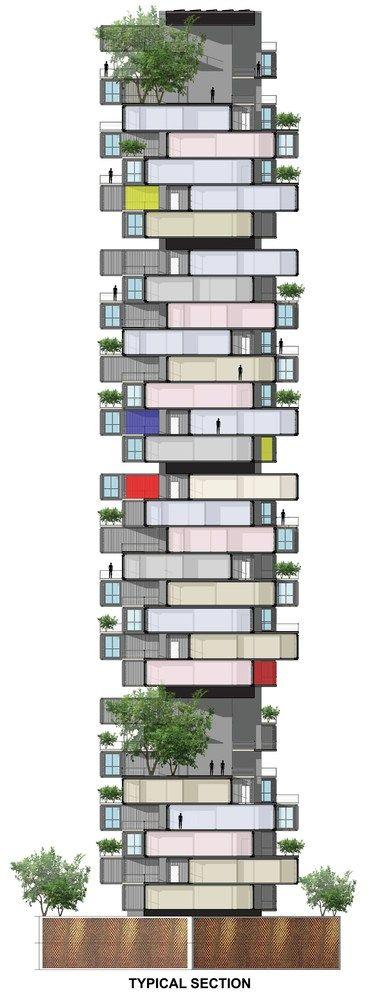GA diseña rascacielos de containers para favela en Bombay,Sección/Corte. Imagen cortesía de GA Design