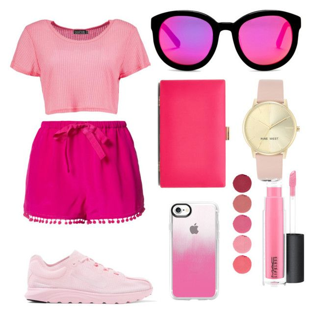 """Pink look 💗"" by marango1706 on Polyvore featuring moda, Figue, Boohoo, NIKE, New Look, Casetify, AQS by Aquaswiss, Nine West, Kjaer Weis y MAC Cosmetics"