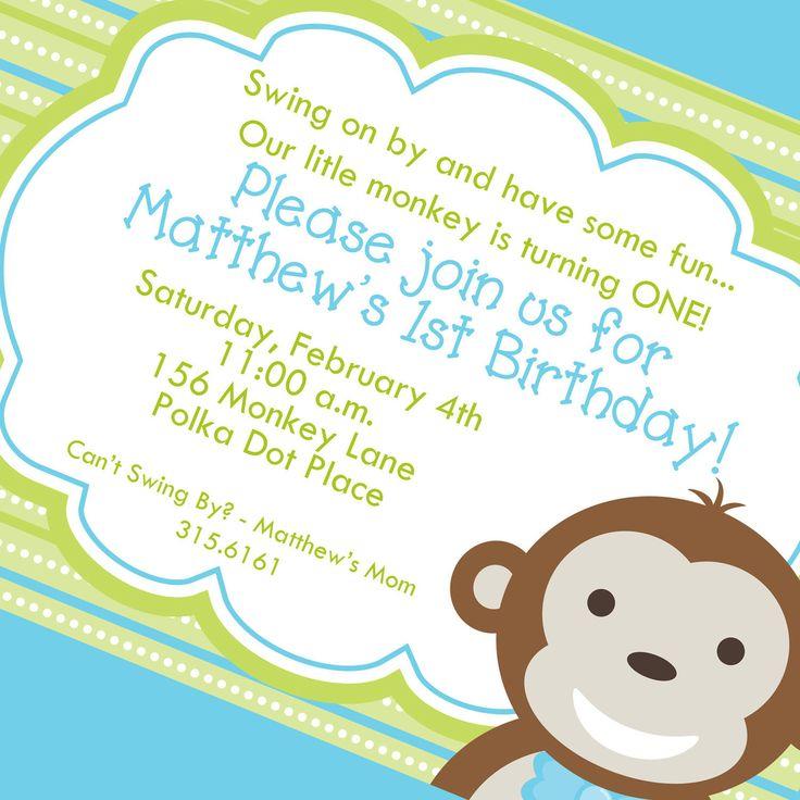 Little Monkey Boy First Birthday Invitation