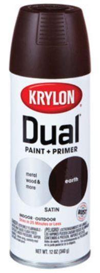 Krylon K08833000 Dual Paint & Primer Spray, Earth, Satin, 12 Oz.