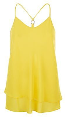 Womens canary yellow yellow ring back layered cami from New Look - £12.99 at ClothingByColour.com