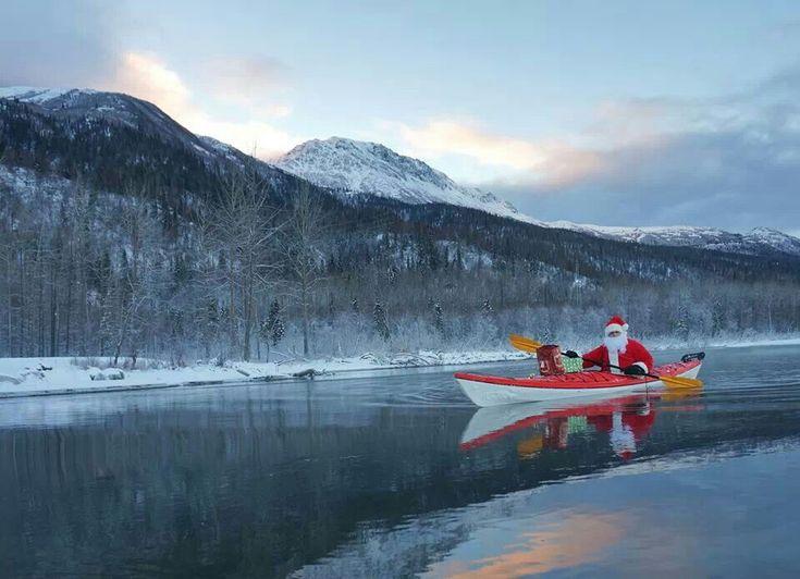 Kayaking santa paddling adventure pinterest