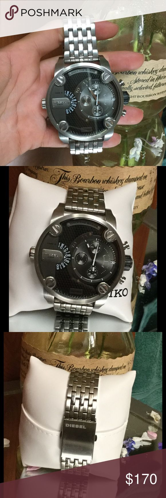 Diesel ONLY THE BRAVE large face watch men's Men's watch has a large face it's really cool but to big for my husband. Never used has been in closet watch is fully functioning. Purchased for $350 Diesel Accessories Watches